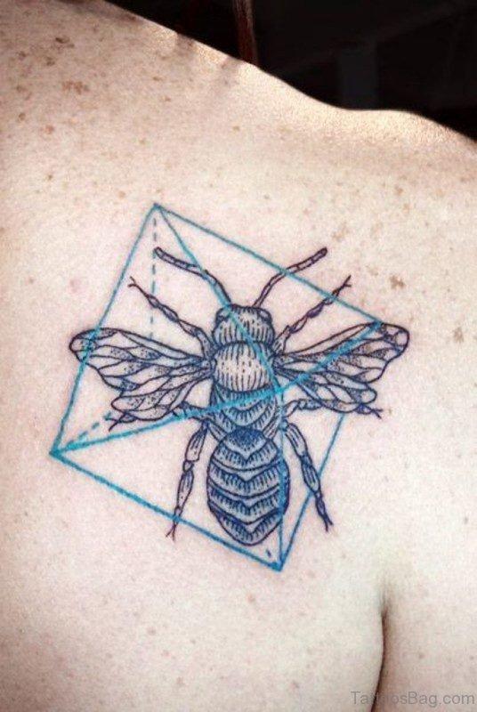 Bug And Geometric Shoulder Tattoo