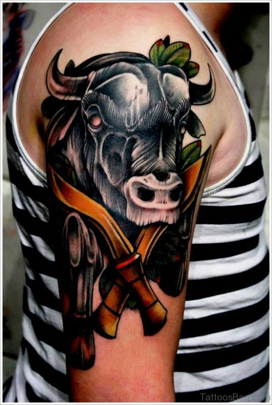 Bull And Cross Dager Tattoo On Shoulder