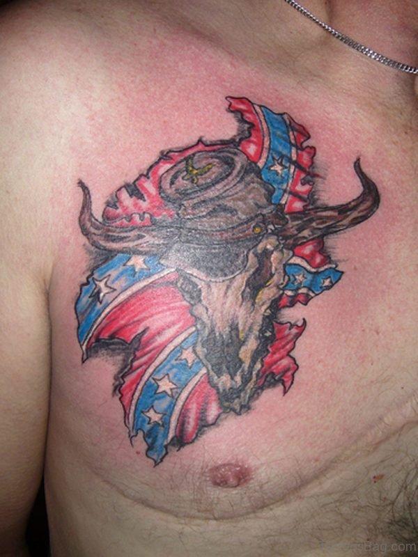 Bull And Flag Tattoo