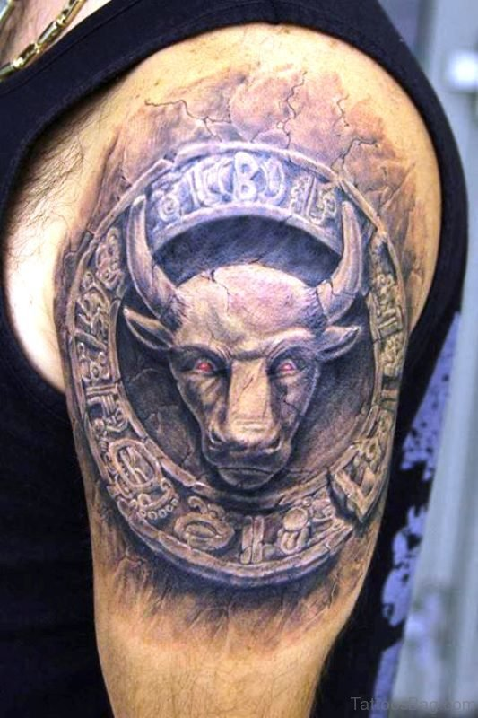 Bull Aztec Shoulder Tattoo