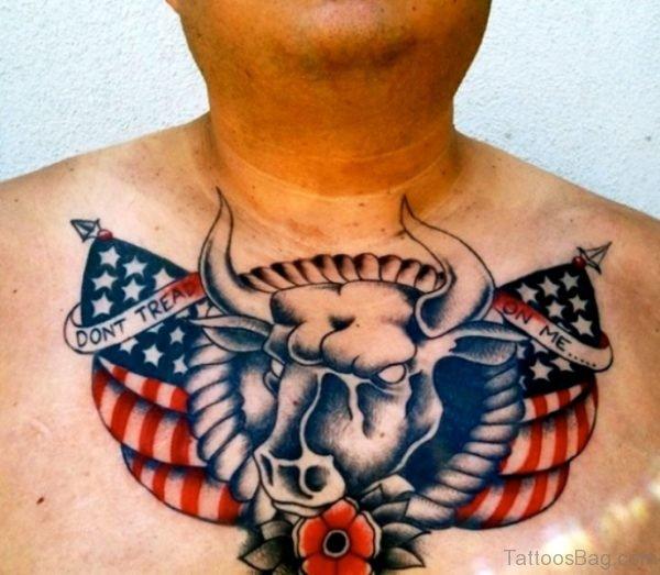 Bull Head With American Flag Tattoo