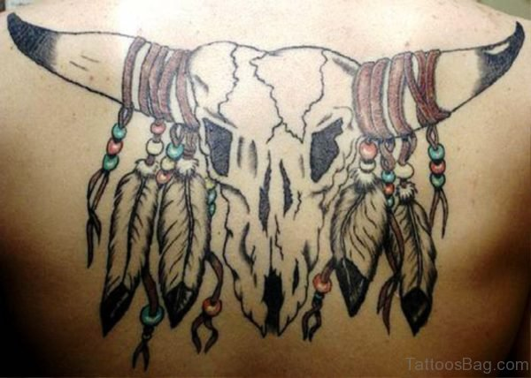 Bull Skull Tattoo With Feathers On Back