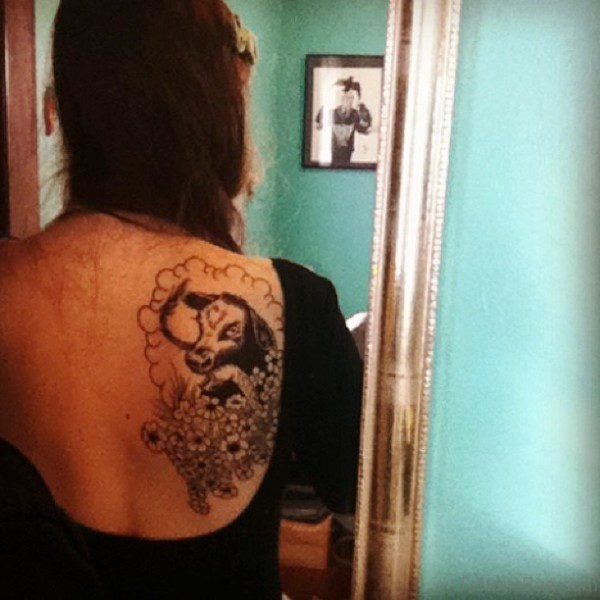 Bull Tattoo On Back For Women