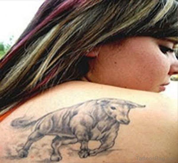 Bull Tattoo On Shoulder For Women