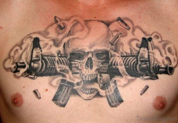 Bullets Skull And Gun Tattoo