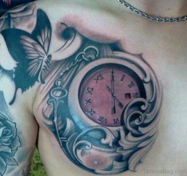 Buterfly And Clock Tattoo