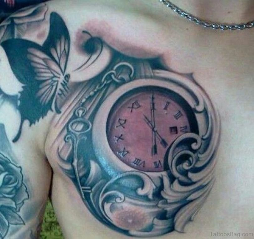 995dbd676 64 Mind Blowing Clock Tattoos For Chest