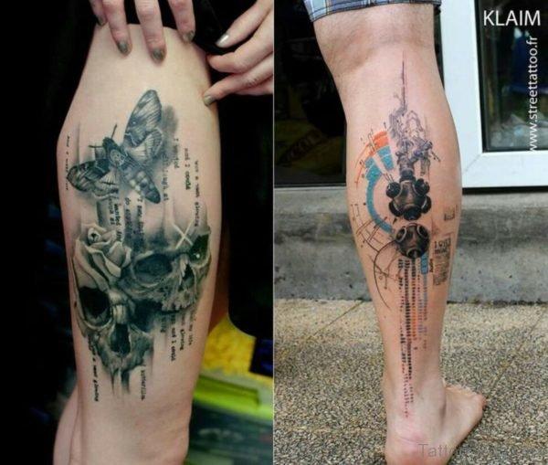 Butetrfly And Skull Tattoo