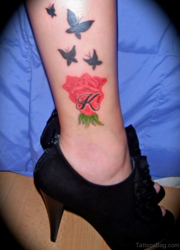 Butterflies And Rose Tattoo On Ankle