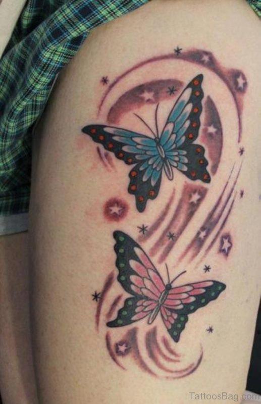 Butterflies Tattoos On Thigh