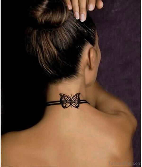 Butterfliy Bow Tattoo On Neck