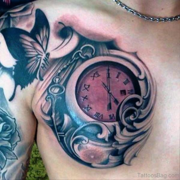 Butterfly And Clock Shoulder Tattoo