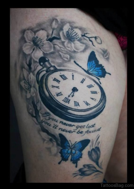 Butterfly And Clock Tattoo On Thigh