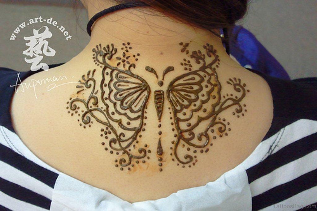 Mehndi Henna Butterfly : Cute henna neck tattoos