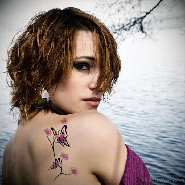 Butterfly Shoulder Tattoo For Women