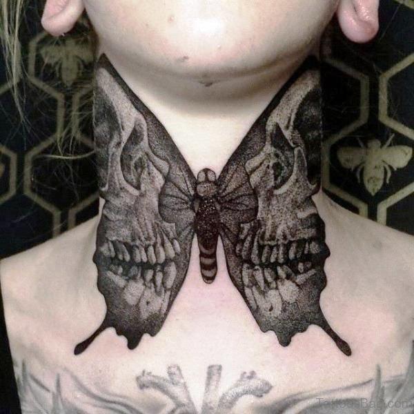 Butterfly Skull Neck Tattoo