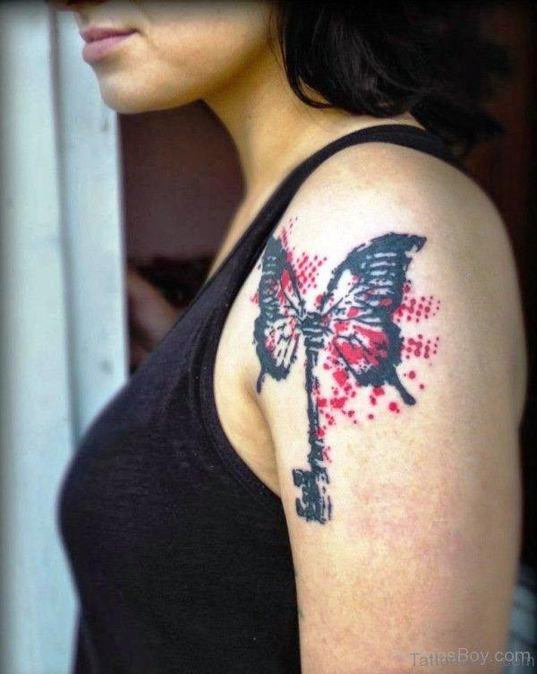 Butterfly Tattoo Design On Left Shoulder