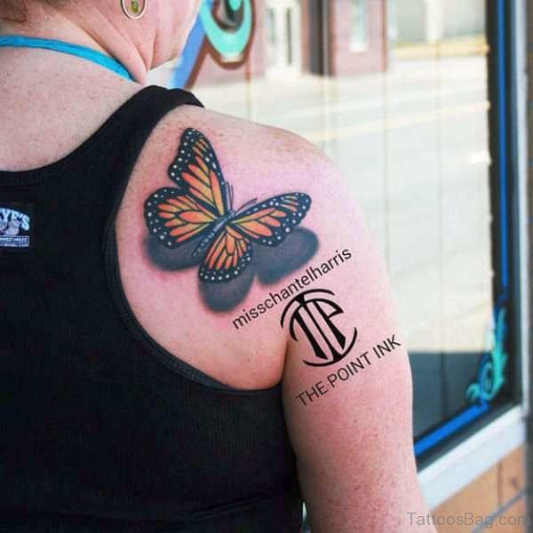 Butterfly Tattoo Design On Shoulder Back