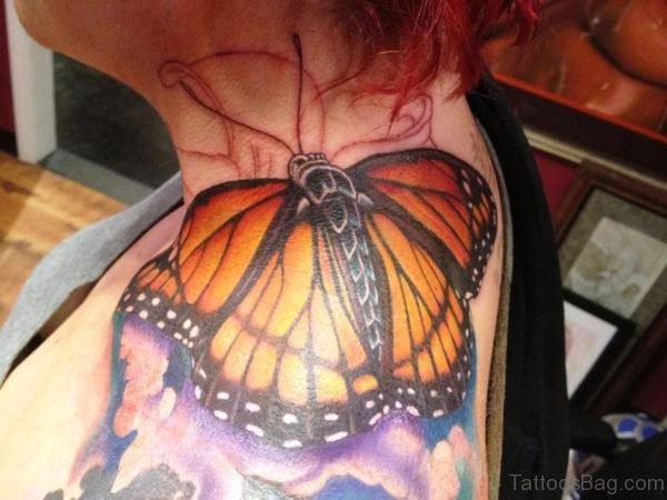 Butterfly Tattoo On Oint Shoulder