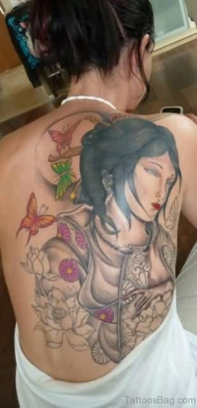 Butterly And Geisha Tattoo
