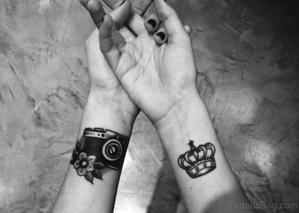 Camera And Crown Wrist Tattoo