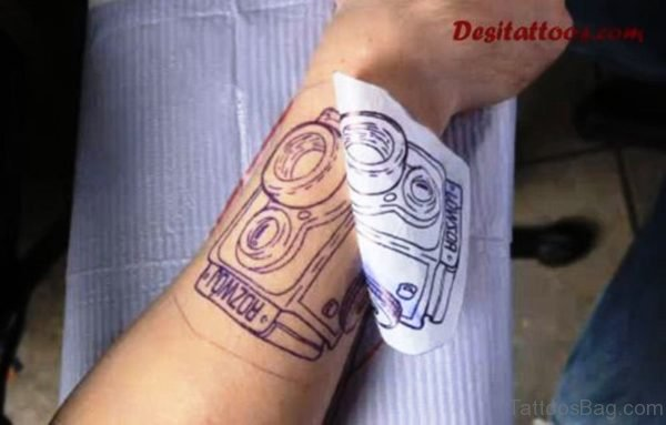 Camera Tattoo Design On Wrist