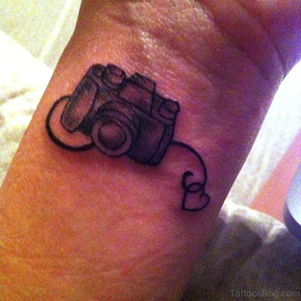 Camera Wrist Tattoo Design