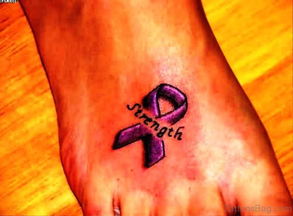 Cancer Ribbon Tattoo With Strength