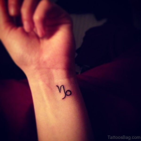 Capricorn Tattoo On Left Wrist For Girls