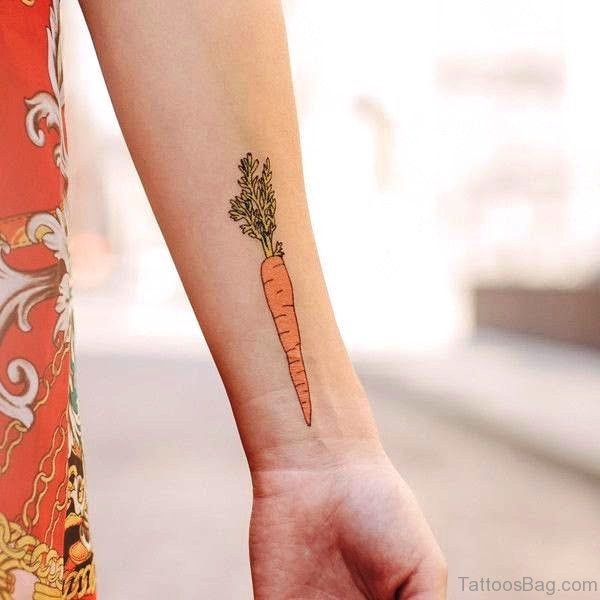 Carrot Wrist Tattoo Design