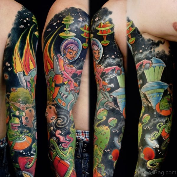Cartoon Full Sleeve Tattoo