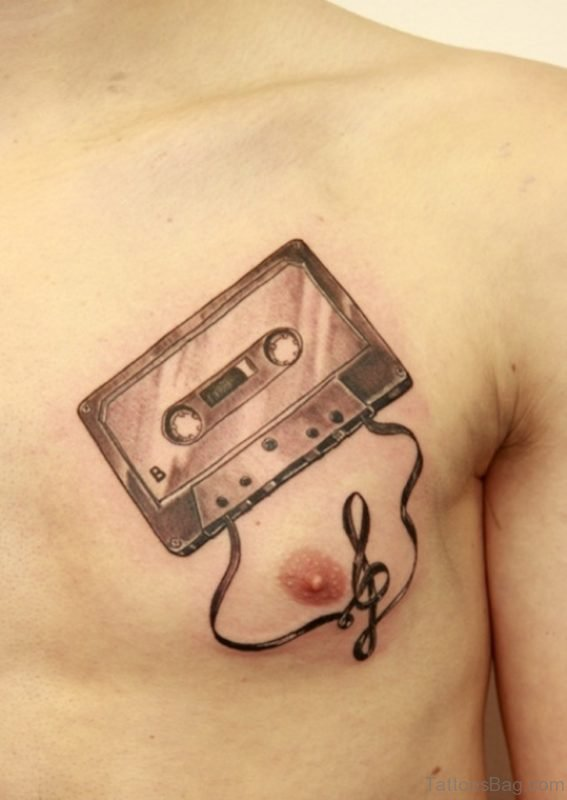 Cassette Tattoo On Chest