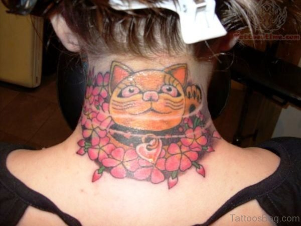 Cat Face Tattoo On Neck