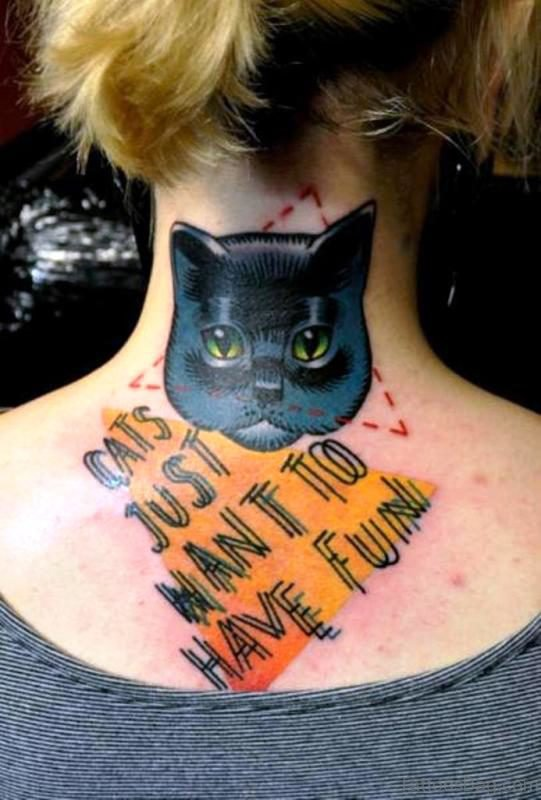 Cat Letter Tattoo On Neck