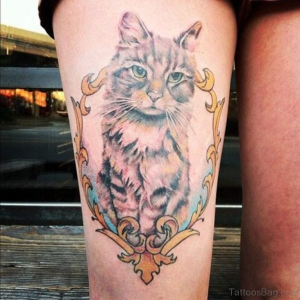 Cat Portrait Tattoo For Thigh