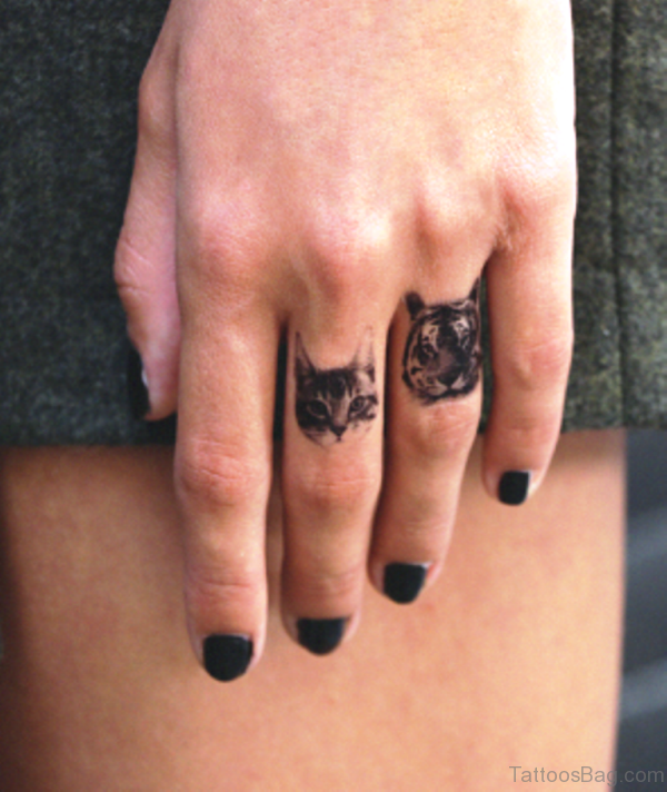 Cat Tattoo On Middle Finger