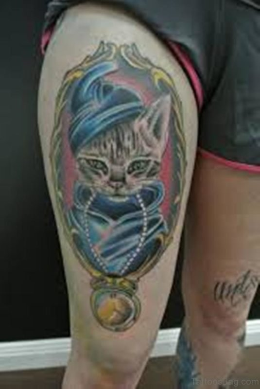 Cat Tattoo On Thigh