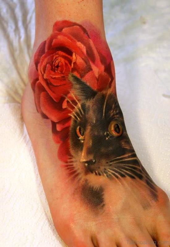 Cat With Rose Tattoo On Foot