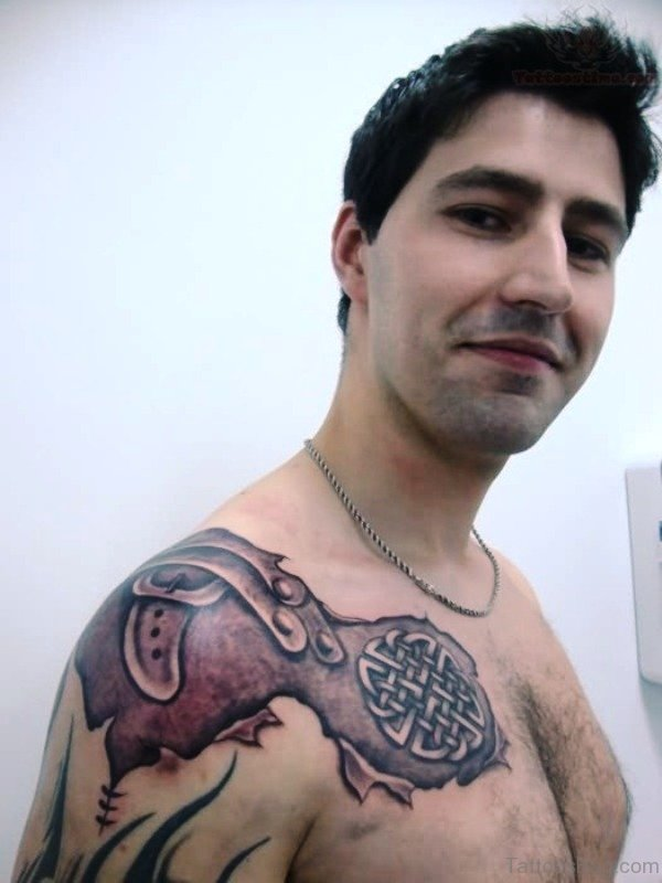 Celtic Armour Tattoo On Shoulder