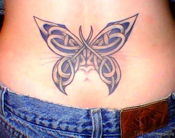 Celtic Butterfly Tattoo On Lower Back