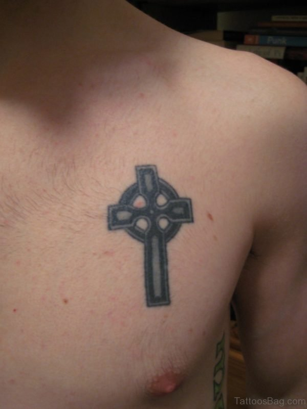 Celtic Cross Tattoo On Chest