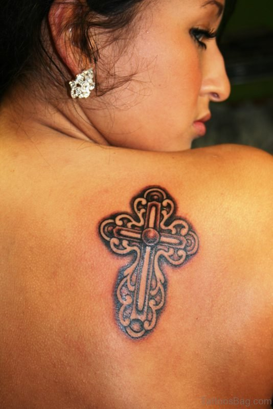 Celtic Cross Tattoo On Shoulder Back