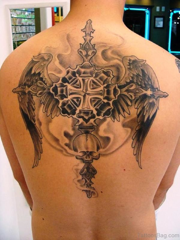 Celtic Cross With Angel Wings Tattoo On Upper Back