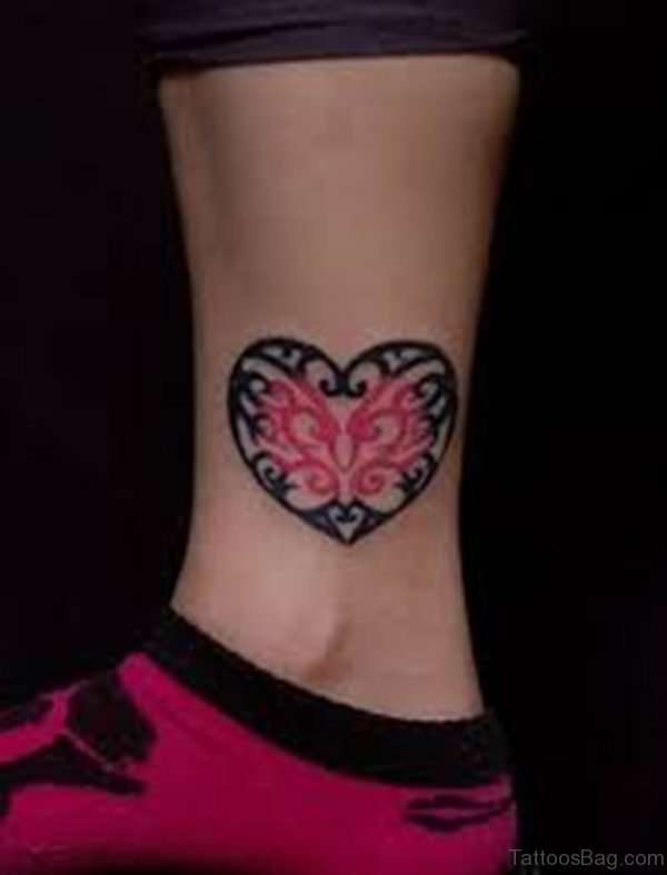 Celtic Heart Tattoo On Ankle