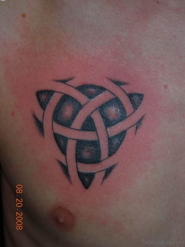 Celtic Knot Tribal Tattoo On Chest