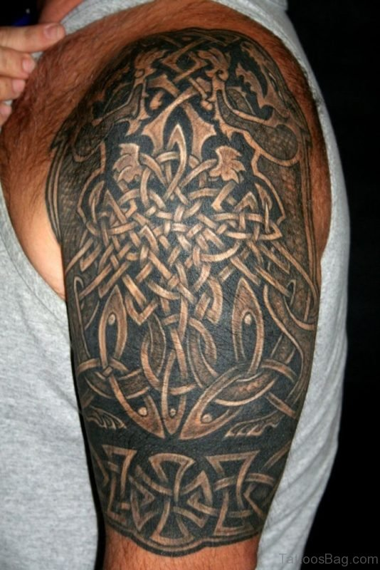 Celtic Knot and Aries Tattoo On Shoulder