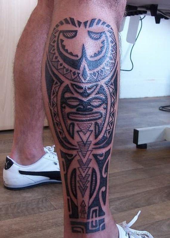 Celtic Maori Leg Tattoo