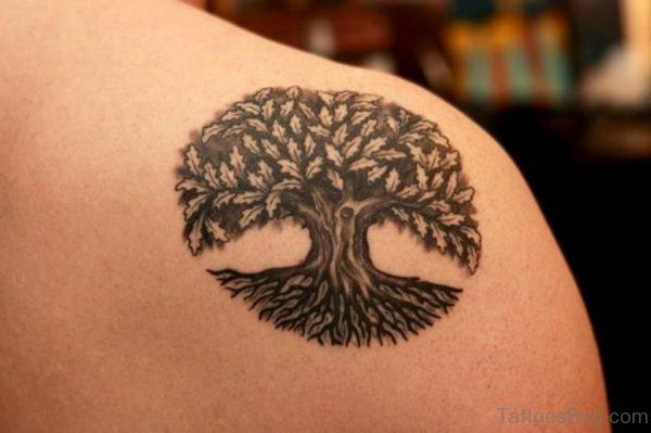 Celtic Tree Tattoo On Back Shoulder
