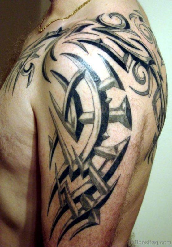 Celtic Tribal Tattoo On Left Shoulder