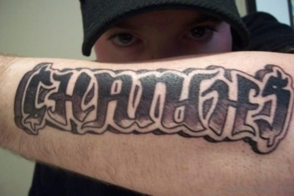 Changes Ambigram Tattoo On Left Arm